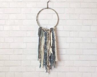 Gray Dream Catcher, Boho Wall Hanging, Nursery Dreamcatcher, Bohemian Decor, Boho Dreamcatcher, Boho Nursery Decor, Hoop Wall Hanging
