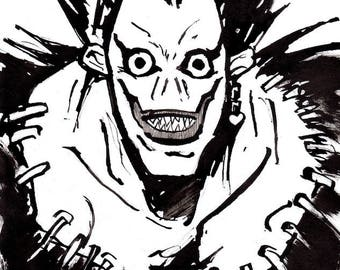 Ryuk Death Note A4 Ink Drawing