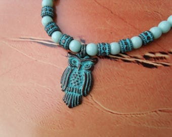 Tawny owl OWL NECKLACE patina Mint green round beads glass beads copper Greek ceramic