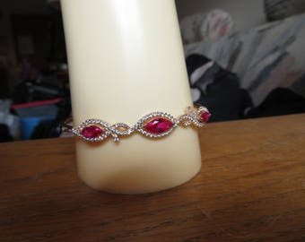 New Handcrafted 3.00ctw Ruby & White Sapphire 14KT Rose Gold/925 Sterling Bangle Bracelet, Wt. 11.6 G