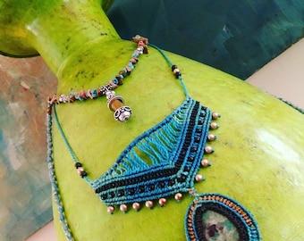 Handmade Vintage Turquoise Stone Necklace Set of 3