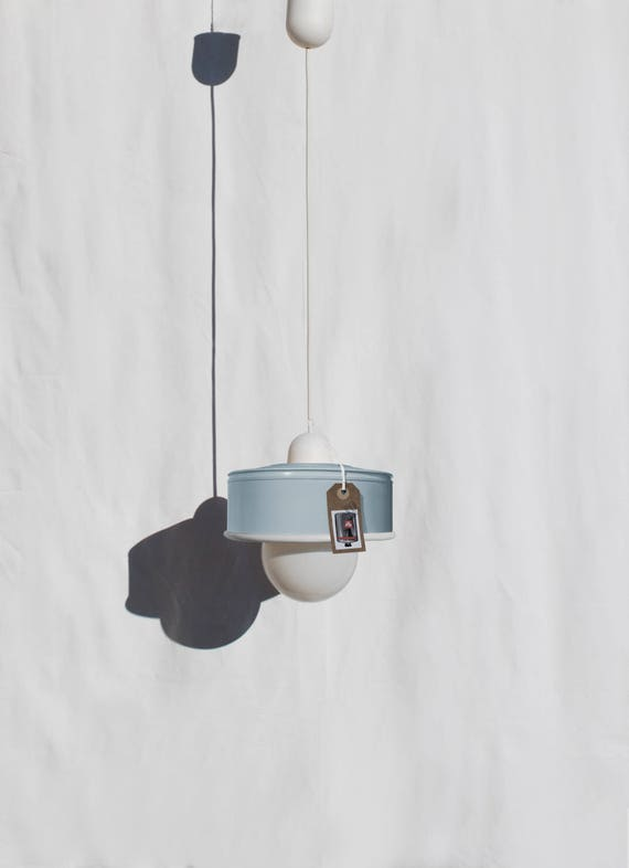 Hanging / pendant / ceiling lamp, light pastel blue color ... eco friendly & handmade : recycled from  coffee can ! LED light bulb included