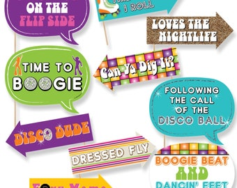 Funny 70's Disco Party Photo Booth Props - Boogie Party Photo Booth Prop Kit - 70's Disco Selfie Photo Props - 10 pc.