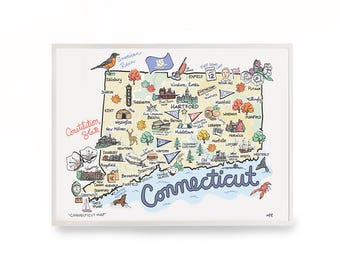 "Connecticut Map, 9""x12"" Connecticut Print, Unframed, Printed on watercolor paper"