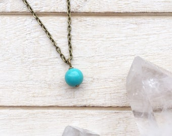 Turquoise Ball Necklace, Turquoise Necklace, December Birthstone, December Necklace, Blue Birthstone, December Stone, Turquoise