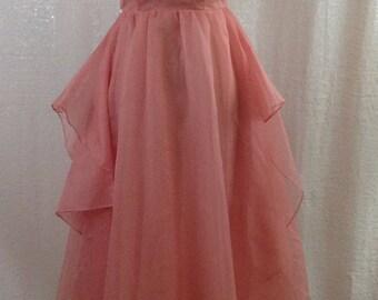 Pink long flowy chiffon dress