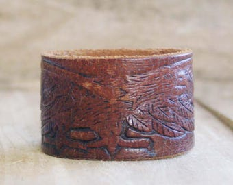 CUSTOM HANDSTAMPED distressed brown leather cuff with eagle design by mothercuffer