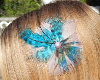 Pink and blue butterfly feather hair clip