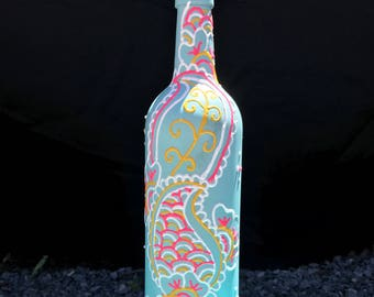 Light Aqua  White  Pink  Yellow - Hand Painted Wine Bottle - Vase - Decorative Olive Oil Holder - decorative wine bottle - bar decor - kitch