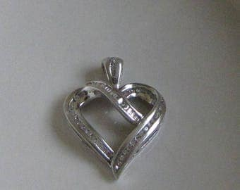 Silver and Diamonds Heart Pendant Vintage Sterling Silver .925 Jewelry