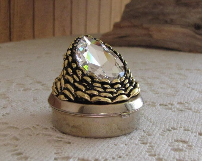Trinket or Pill Box Gold Toned and Large Stone Small Hinged Boxes Vintage Women's Jewelry and Accessories