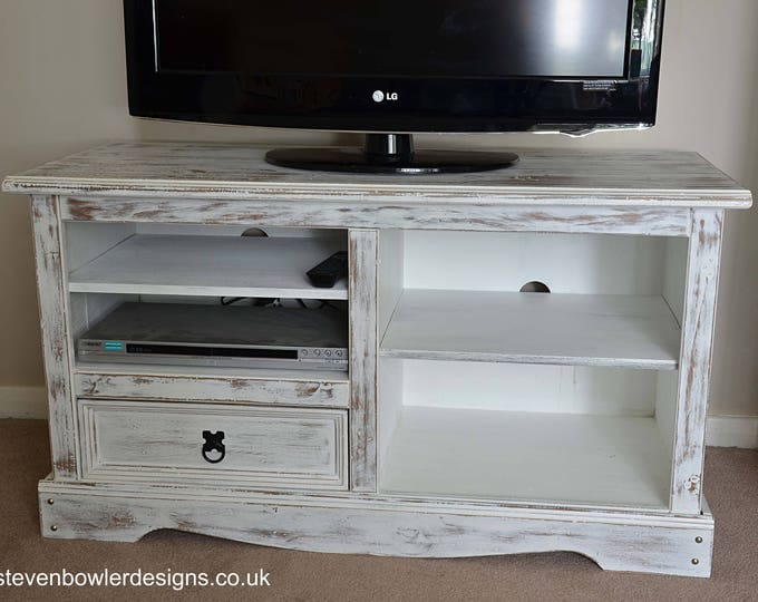 IN STOCK White Coastal Style Rustic TV Unit in our Driftwood Style Finish with Pull Drawer Media Storage Shelves Free Uk Shipping