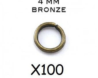 Lot 100 4mm bronze open jump rings.