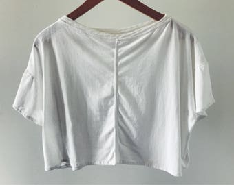 Cropped White Upcycled Tee