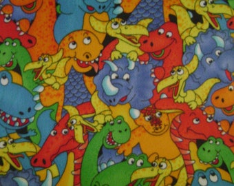 Fabric by the 1/2 Yard - Colorful Dinosaurs Polar Fleece