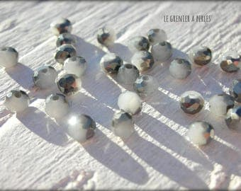 3 mm Grey AB Abacus beads X 50