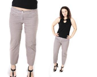 Gingham pants, Plaid pants, Vintage High waisted trousers,Womens 70s Ankle pants, Checkered Beige pants, Peg leg pants, Beige pants / Large