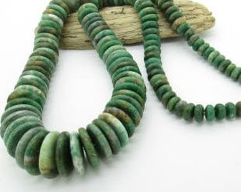 "African Jade Graduated Disc Bead Strand, Southwestern Disc Bead, Natural Gemstone Bead 8-20mm (one 23"" strand)"