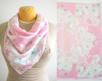 Vera Silk Scarf // Pink Floral Silk Scarf - Made in Japan