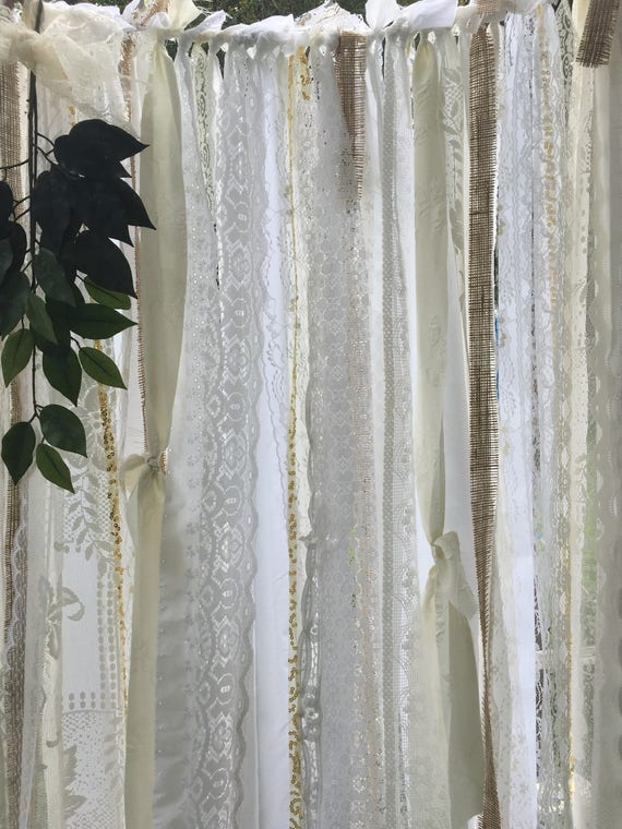 Lace garland curtain 7 39 shabby chic curtain garland for Shabby chic garland lights
