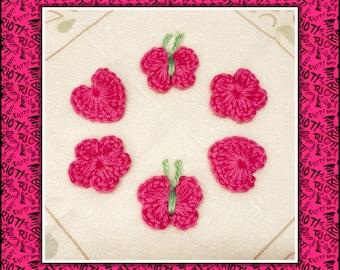 Crochet Flowers Hearts Butterflies Color choose