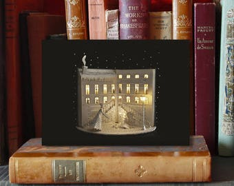 """Carte postale sculpture de papier """"La petite fille aux allumettes"""" n-2"""