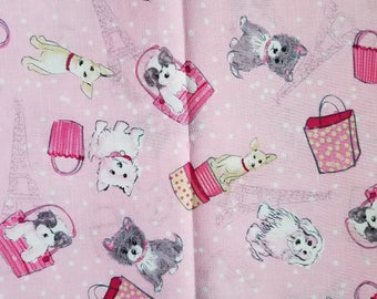 Paris Dogs Cotton Fabric Sold by the yard