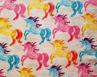 Rainbow Unicorns Flannel by the yard