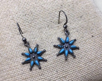 Vintage petit point turquoise sterling silver earrings