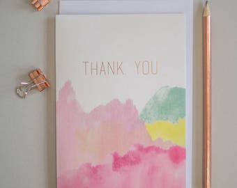 Thank you rose gold greeting card