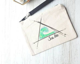"""Handpainted Zippered Pouch with wristlet. """"Sea Me"""""""