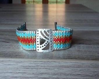 Bracelet manchette turquoise, corail et argent