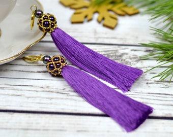 Purple earrings christmas gift-for-her silk tassel earrings dangle earrings bridesmaid gift-for-sister statement earrings boho earrings gift