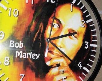 clock wall decor rasta bob marley