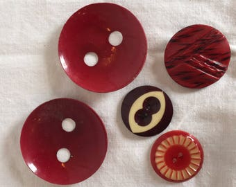 Vintage Red Celluloid Wafers with Shanks and Sew Throughs; 5 Buttons