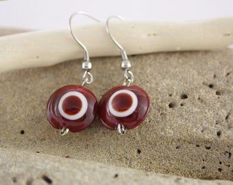 Red earrings Lampwork Glass Bead