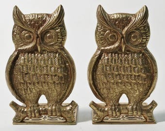 Pair of Vintage Brass Owl Shaped Metal Bookends