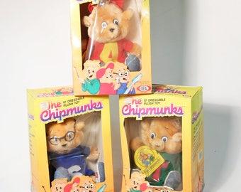 "Set of 3 Ideal Chipmunks 10"" Plush Toys - Alvin, Theodore & Simon - 1983 NIB New"