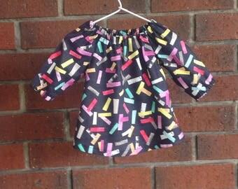 "Long sleeved baby dress,  fall peasant dress designer cotton ""Laura Blythman"",  size 3 6 12 18 24 mths, cotton fabric, infant toddler dress"