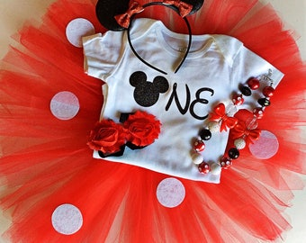 Minnie Mouse birthday outfit - red- birthday outfit- tutu collection