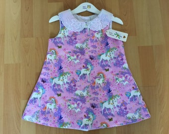 Girls dress *Unicorns *  *Peter Pan collar* *Pink unicorns*, * classic style*, *summer/party dress*, age . 3 years