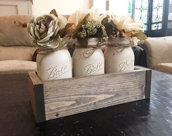 Mason jar planter box, mason jar home decor, mason jar centerpiece