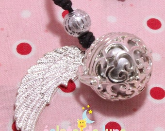 Pregnancy's Bola in cute cage with angel wing and brushed silver bird charm