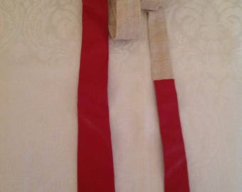 SKINNY Tie- Red Leather Beige Line Mad Men New Vintage Skinny Tie  1980s Mid Century 1950s Style LION HEARTED Italy WildRosesVintage  Sale