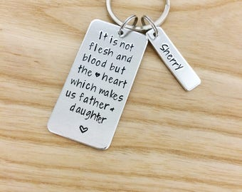 STEP DAD gift,  Stepfather, Stepdad, gifts for step dad, hand stamped dad keychain, Fathers Day Gift for stepdads, step son, daughter
