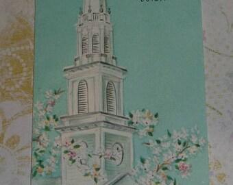ON SALE Church Steeple With Flowers Vintage Slim Jim Hallmark Card