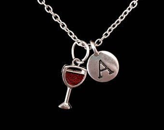 Gift For Her, Red Wine Glass Neclace, Initial Necklace, Best Friend Gift, Bridesmaid Gift, Christmas Gift, Charm Necklace