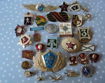 Russian Military Pins Soviet Union Hammer and Sickle Gold Enamel Government Awards Russian Military Uniform Hat Brooches Collectors Gift