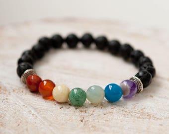 Chakra Balancing Essential oil diffuser bracelet lava stone diffuser bracelet aromatherapy jewelry