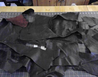 Upholstery Leather Scraps / Pebbled Texture / Free Shipping